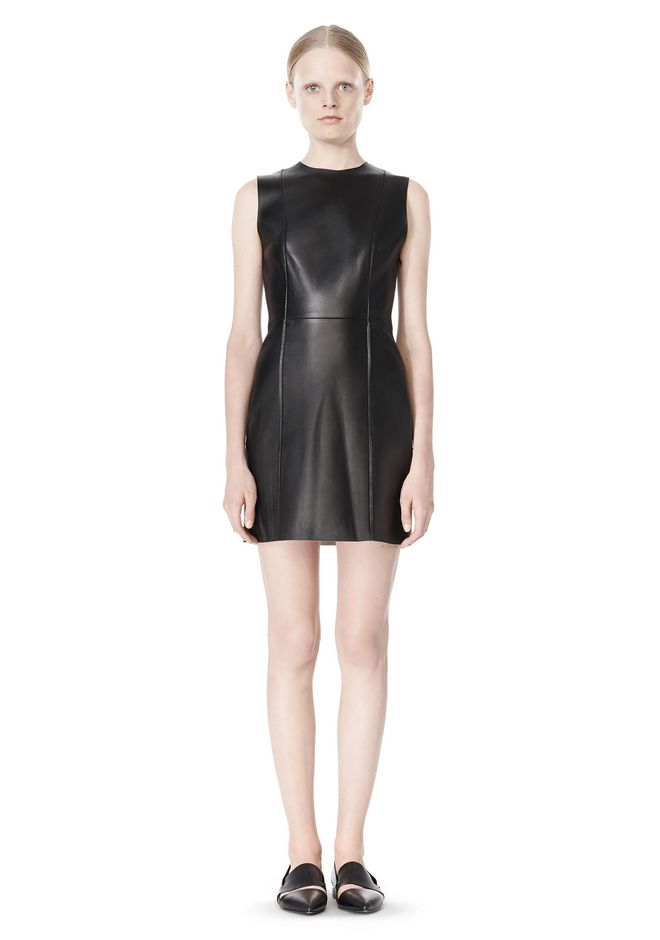 T by ALEXANDER WANG RAW EDGE SLEEVELESS LEATHER SHIFT DRESS