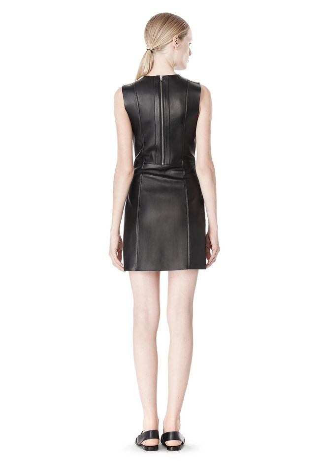 T by ALEXANDER WANG RAW EDGE SLEEVELESS LEATHER SHIFT DRESS Short Dress Adult 12_n_r