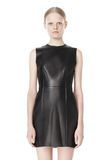 T by ALEXANDER WANG RAW EDGE SLEEVELESS LEATHER SHIFT DRESS Short Dress Adult 8_n_d