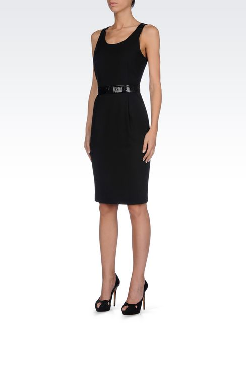 SHEATH IN CRÊPE WITH PATENT DETAILS: 3/4 Length Dresses Women by Armani - 3