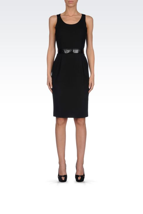 SHEATH IN CRÊPE WITH PATENT DETAILS: 3/4 Length Dresses Women by Armani - 2