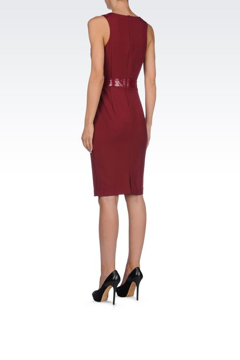 SHEATH IN CRÊPE WITH PATENT DETAILS: 3/4 Length Dresses Women by Armani - 4