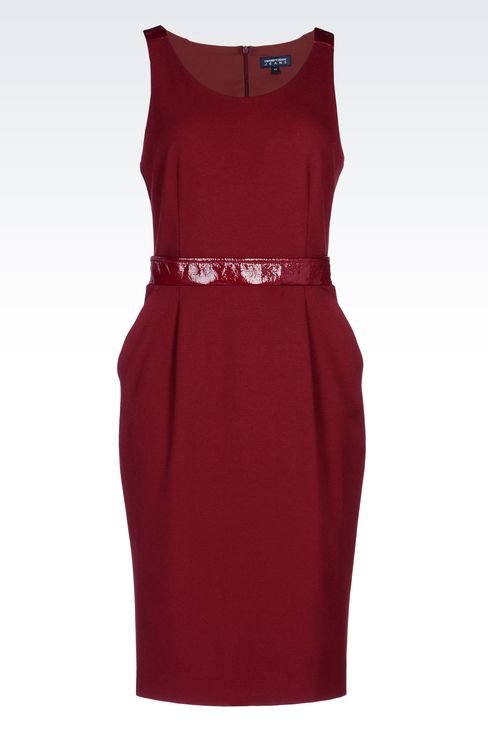 SHEATH IN CRÊPE WITH PATENT DETAILS: 3/4 Length Dresses Women by Armani - 1