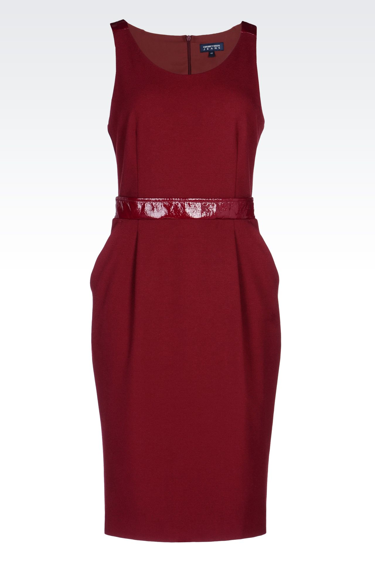 SHEATH IN CRÊPE WITH PATENT DETAILS: 3/4 Length Dresses Women by Armani - 0