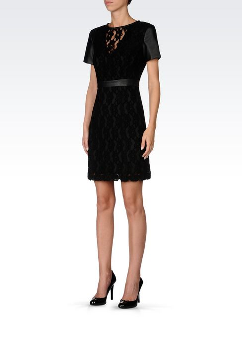 DRESS IN LACE AND FAUX LEATHER: Short Dresses Women by Armani - 3