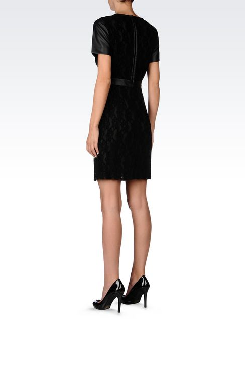 DRESS IN LACE AND FAUX LEATHER: Short Dresses Women by Armani - 4