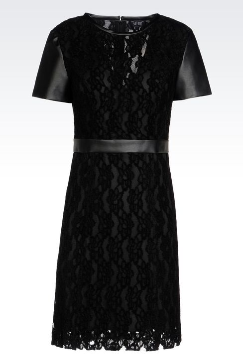 DRESS IN LACE AND FAUX LEATHER: Short Dresses Women by Armani - 1