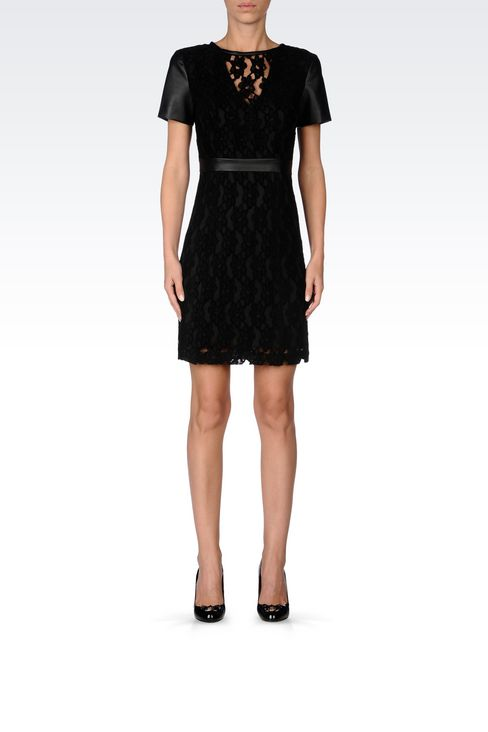 DRESS IN LACE AND FAUX LEATHER: Short Dresses Women by Armani - 2