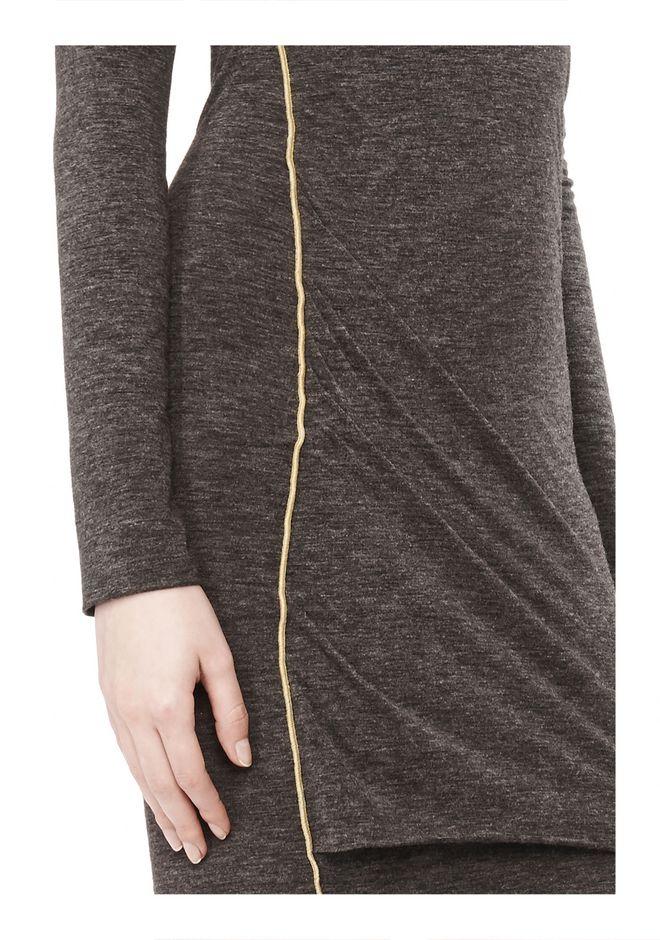 MOHAIR JERSEY LONG SLEEVE DRESS WITH TWIST DRAPE