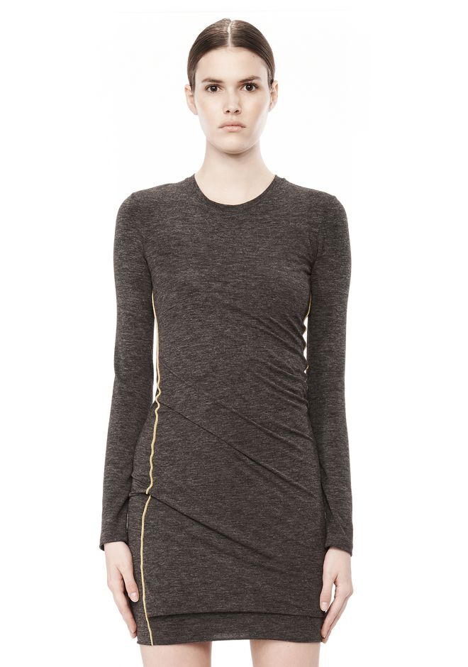 T by ALEXANDER WANG MOHAIR JERSEY LONG SLEEVE DRESS WITH TWIST DRAPE Short Dress Adult 12_n_d