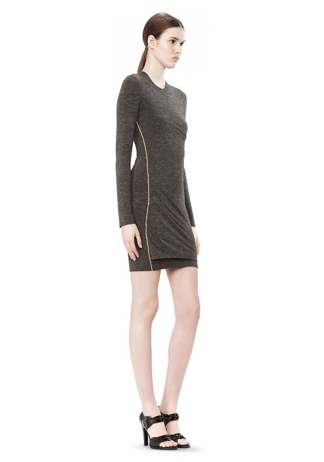 T by ALEXANDER WANG MOHAIR JERSEY LONG SLEEVE DRESS WITH TWIST DRAPE Short Dress Adult 12_n_e