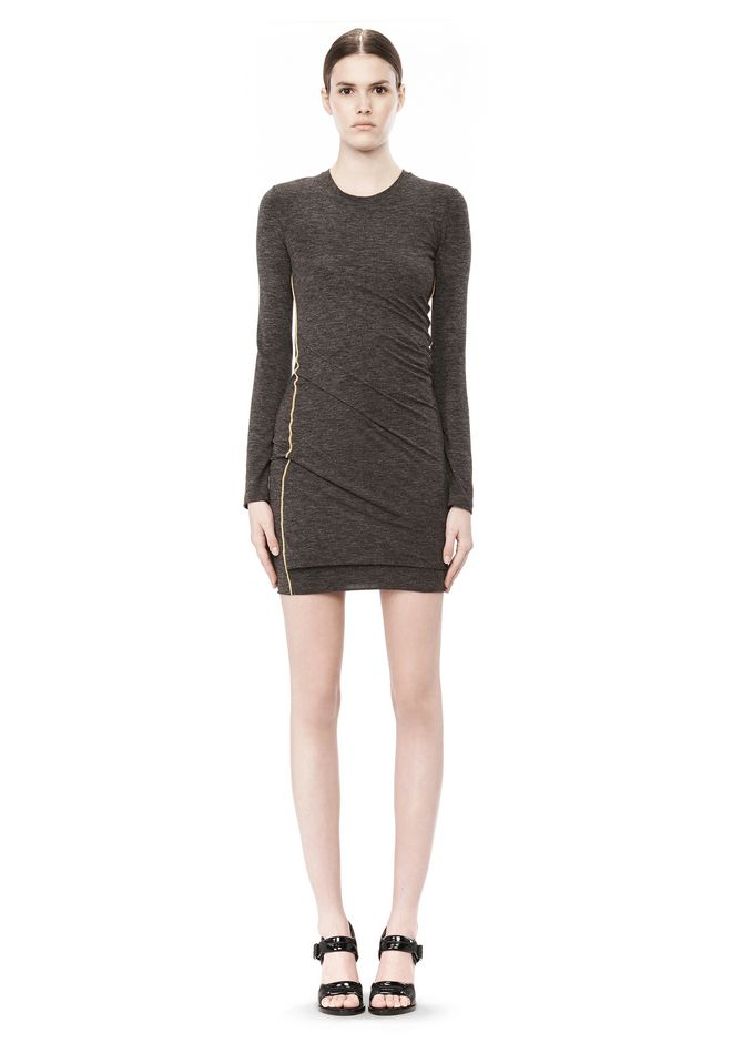T by ALEXANDER WANG MOHAIR JERSEY LONG SLEEVE DRESS WITH TWIST DRAPE