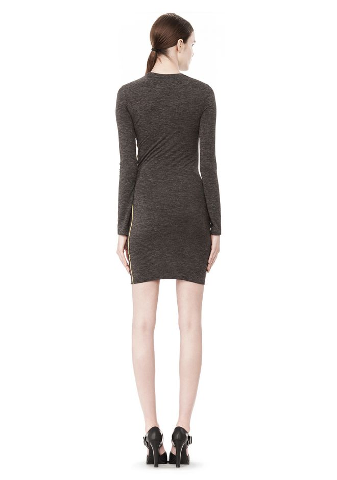 T by ALEXANDER WANG MOHAIR JERSEY LONG SLEEVE DRESS WITH TWIST DRAPE Short Dress Adult 12_n_r