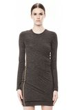 T by ALEXANDER WANG MOHAIR JERSEY LONG SLEEVE DRESS WITH TWIST DRAPE Short Dress Adult 8_n_d