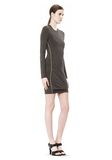 T by ALEXANDER WANG MOHAIR JERSEY LONG SLEEVE DRESS WITH TWIST DRAPE Short Dress Adult 8_n_e