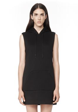 HOODED SCUBA DRESS WITH REFLECTIVE STRIPES