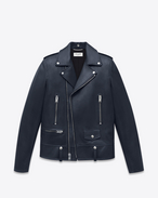 CLASSIC MOTORCYCLE JACKET IN Navy Blue LEATHER