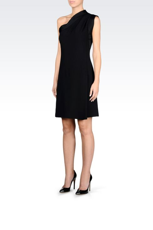ONE-SHOULDER DRESS IN CADY WITH SATIN TRIM: One-shoulder dresses Women by Armani - 3