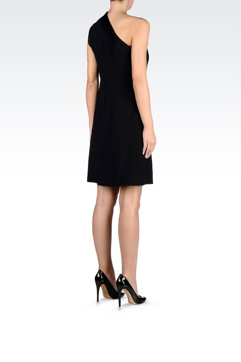ONE-SHOULDER DRESS IN CADY WITH SATIN TRIM: One-shoulder dresses Women by Armani - 4