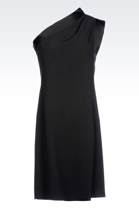 ONE-SHOULDER DRESS IN CADY WITH SATIN TRIM: One-shoulder dresses Women by Armani - 1