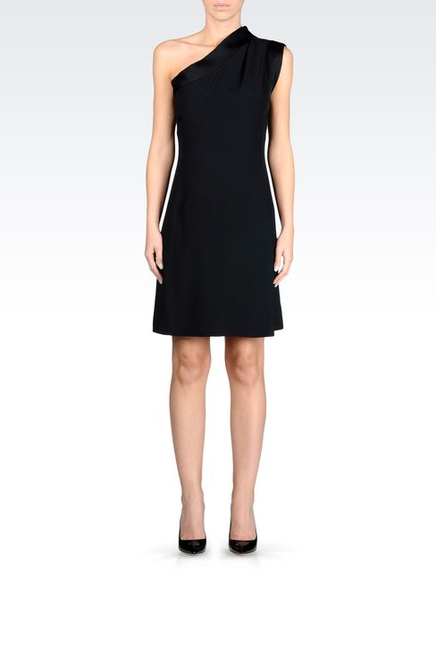 ONE-SHOULDER DRESS IN CADY WITH SATIN TRIM: One-shoulder dresses Women by Armani - 2
