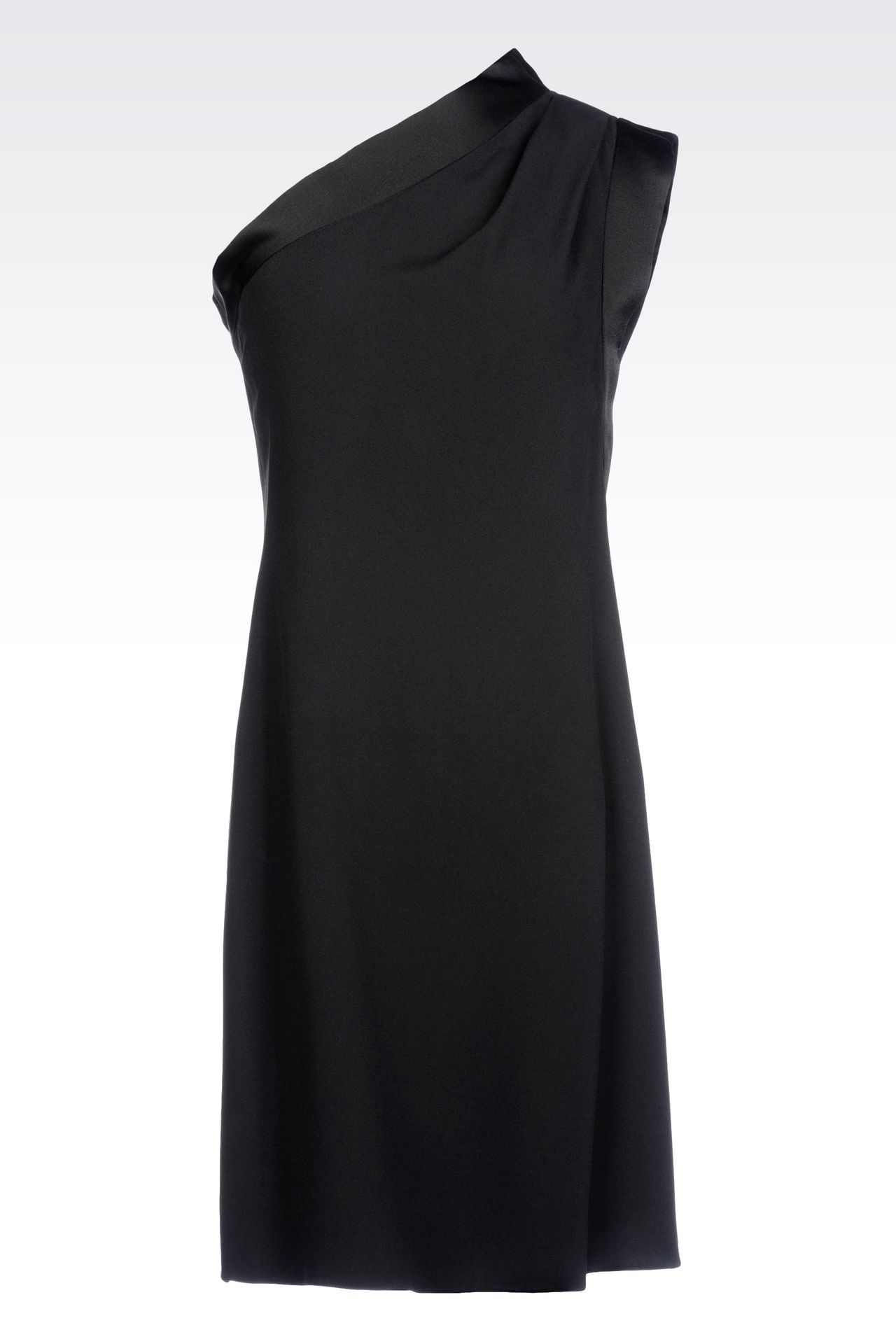 ONE-SHOULDER DRESS IN CADY WITH SATIN TRIM: One-shoulder dresses Women by Armani - 0