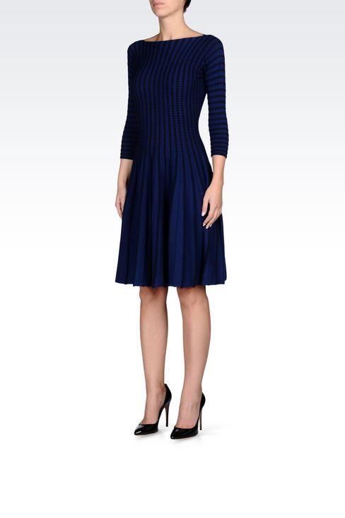 PLISSÉ DRESS IN VISCOSE BLEND: Short Dresses Women by Armani - 3