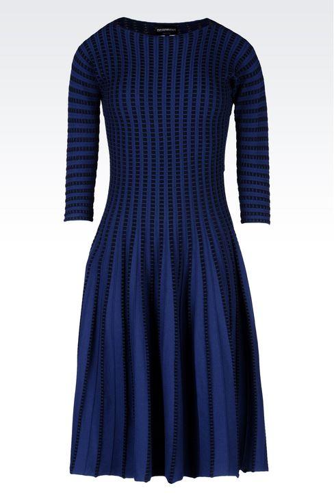 PLISSÉ DRESS IN VISCOSE BLEND: Short Dresses Women by Armani - 1