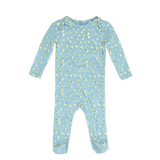 STELLA McCARTNEY KIDS, Dresses & All-in-one, Organic cotton all-in-one featuring an all over small apple print. <br>Long sleeves and lap shoulders, snap fastening between the legs and enclosed feet with foot grips on the soles.