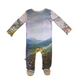STELLA McCARTNEY KIDS, Dresses & All-in-one, Organic cotton all-in-one featuring a landscape print. <br> Long sleeves and lap shoulders, snap fastening between the legs and enclosed feet with foot grips on the soles.