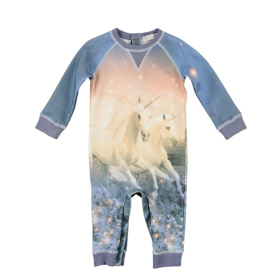 STELLA McCARTNEY KIDS, Dresses & All-in-one, Super soft organic cotton fleece all-in-one in featuring a unicorn print and contrasting ribbed cuffs. <br> Three button fastening at back, long sleeves, a round neck and snap fastening between the legs.