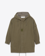 Parka Military color kaki in twill di cotone