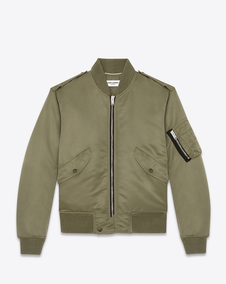 Saint Laurent Classic Bomber Jacket In Khaki Nylon | YSL.com