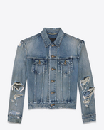 ORIGINAL Destroyed JEAN JACKET IN Blue Dirty Trash DENIM
