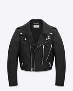 Cropped Motorcycle Jacket in Black Leather