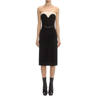 ALEXANDER MCQUEEN, Mid-length Dress, Compact Wool Crepe Two Tone Dress