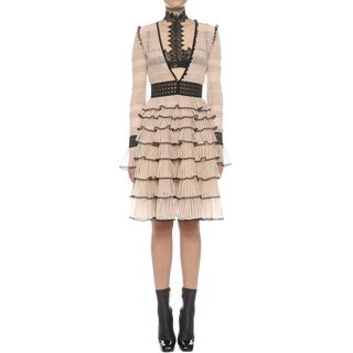 ALEXANDER MCQUEEN, Mid-length Dress, Shiny Ladder Tiers Low V-Neck Dress
