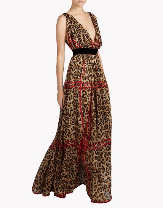 leopard check long dress dresses Woman Dsquared2
