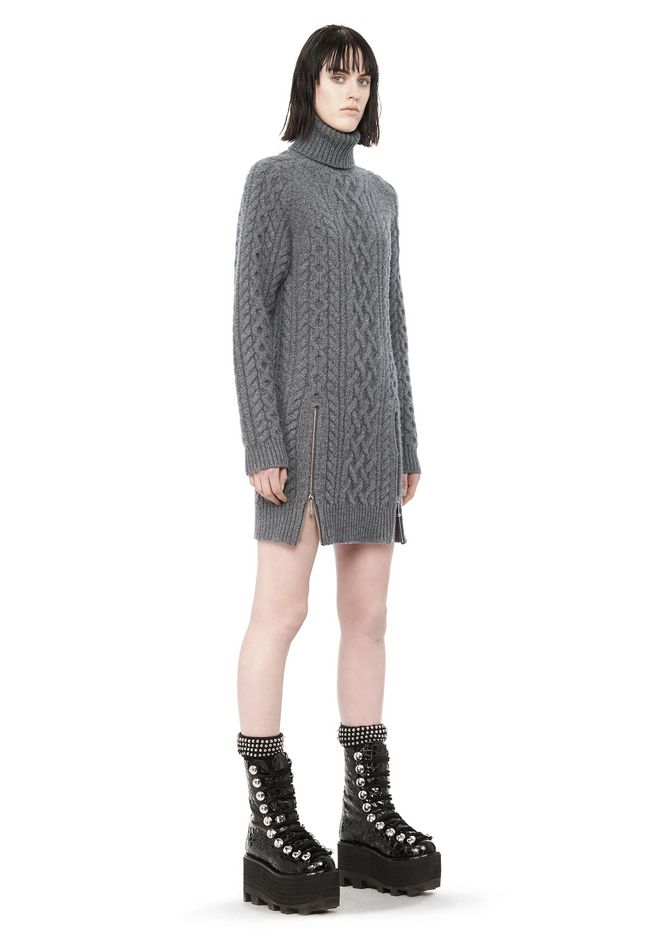 Knitting Pattern Turtleneck Dress : CABLE KNIT TURTLENECK DRESS KNIT DRESS Alexander Wang Official Site