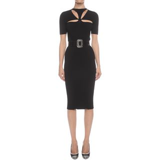 ALEXANDER MCQUEEN, Mid-length Dress, Cut Out Neck Pencil Knit Dress