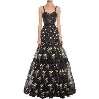 ALEXANDER MCQUEEN, Long Dress, Long Tier Violet Jacquard Dress