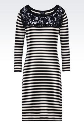 Armani Long-sleeved dresses Women two tone striped dress