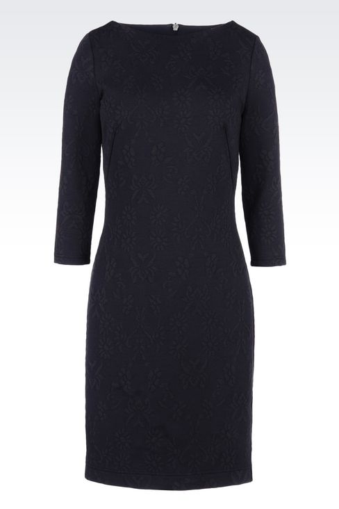 DRESS IN JACQUARD JERSEY: Long-sleeved dresses Women by Armani - 1
