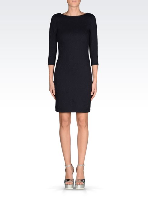 DRESS IN JACQUARD JERSEY: Long-sleeved dresses Women by Armani - 2