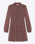 Band Collar Shirt Dress in Multicolor Prairie Printed Silk Georgette