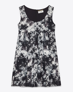 Babydoll Tank dress in Black and Shell Palm Printed Viscose