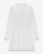 Prairie Dress in White Cotton Voile
