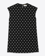 Babydoll Cap Sleeve Dress in Black and Shell Polka Dot Printed Polyester