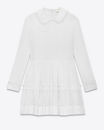 CLAUDINE collar Prairie Dress in White Cotton Voile