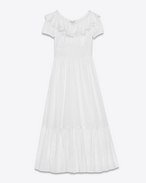 BOHÈME Long Dress in White Cotton Voile Organza